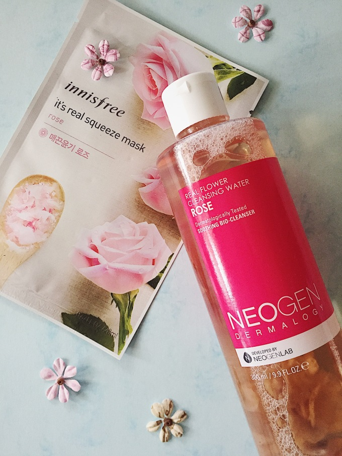 NEOGEN REAL FLOWER CLEANSING WATER INNISFREE IT'S REAL SQUEEZE MASK ROSE SPOTLIGHT GO4GLOW