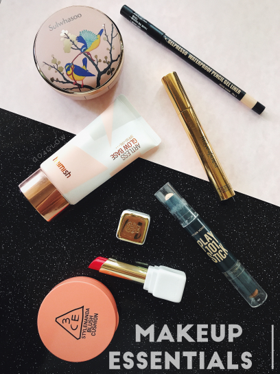 GO4GLOW makeup essentials 3CE blusher guerlain lipstick heimish base play 101 stick etude house YSL touche eclat clio liner sulawhasoo BB cushion